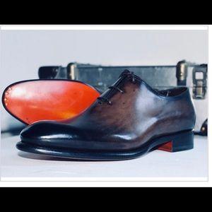 Santoni Brown Whole Cut Men's Dress Shoe